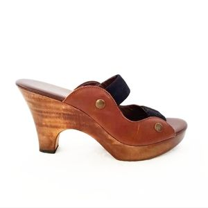 Cynthia Vincent Brown Wooden Suede Sandal | 7.5